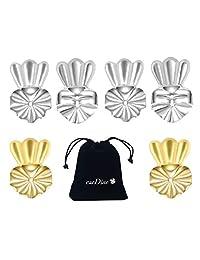 earDlite 皇冠耳环升降器 - 3 对低*性耳环提升(2 对镀纯银和 1 对 18K 镀金)包括:珠宝盒、天鹅绒袋和 2 块首饰清洁布。