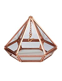 Lillian Rose RA220 C 铜几何棱镜玻璃枕头替代戒指盒,9.53 厘米 x 10.80 厘米 x 11.43 厘米