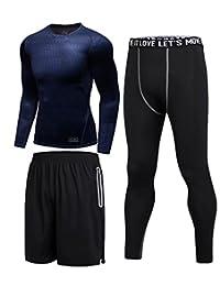 Ziitop 【上衣+短裤+长裤】三件套 健身服套装男跑步运动速干紧身衣三件套篮球训练健身房服