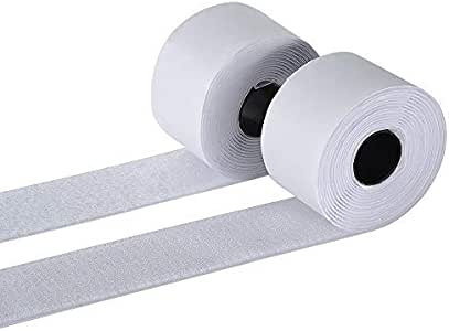 BQS 5.08 厘米自粘式钩环粘性背带紧固件 长度 25.4 厘米 白色 43396-157401