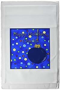 3drose BEVERLY TURNER 圣诞节设计–快乐假日, COACH ,节日饰品带彩色灯光–旗帜 12 x 18 inch Garden Flag