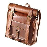 男式皮革复古卷式笔记本电脑背包帆布背包 均码棕色