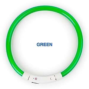 "New Tech Junkies 可充电管 LED PET 发光项圈*可调节闪光灯适用于狗 Micro USB 充电线 绿色 MEDIUM 5-6"" NECK DIAMETER"