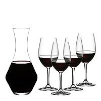Riedel 礼铎 Accanto系列 红酒酒具5件套 波尔多红酒杯4只礼盒装+梅洛型醒酒器1只 490/0+1440/14(亚马逊自营商品, 由供应商配送)