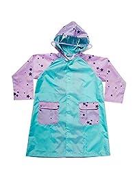 Makku(Makku) 乐园大衣 粉色星星图案×蓝色 120cm 雨衣 儿童 双肩包 蓄光 透明连帽 带帽固定带子 带收纳袋 YZ-100