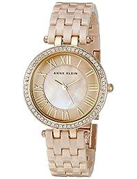 Anne Klein 女士 AK/2200TNGB 施華洛世奇水晶點綴棕褐色陶瓷手鐲手表