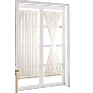 HOLY HOME 法式门窗帘窗帘窗帘窗帘隔热庭院玻璃门窗帘 - 隔热和遮阳 White Polyester Voile 25'' W x72''L x2Panels
