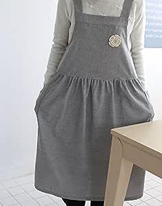 免费送货 免费送货 全新 Cozymom 手工制作日式宽松款天然棉围裙 - 2 种颜色 纯灰色 中 14131473