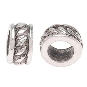 Beadaholique 4.5mm Rope Tube Spacer Beads Pandora Compatible, Short, Silver Plated