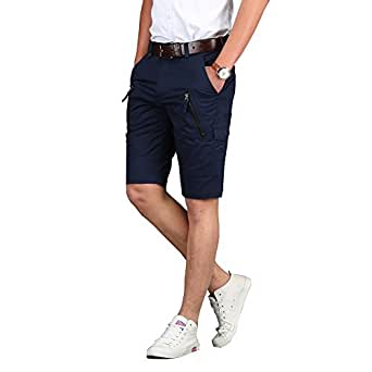 e-supao 夏季男式修身无褶棉质 Frickin Chino 工装休闲短裤带口袋(中国尺码) 蓝色 32