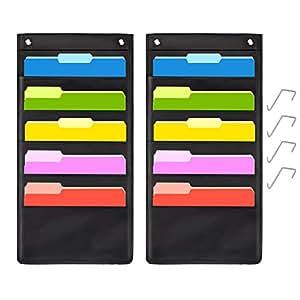 5 个口袋悬挂文件夹收纳袋,层叠壁收纳袋,带 2 个挂钩 - 适合家庭组织、学校口袋图、商务文件夹和纸盒(5 个口袋 - 1 包)