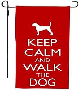 Rikki Knight Keep Calm and Walk The Dog 装饰房屋或花园全出血旗帜,30.48 x 45.72 厘米,红色