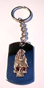 骷髅红色水晶* 性感宝贝锡徽章标志 符号 - 钥匙圈链金属