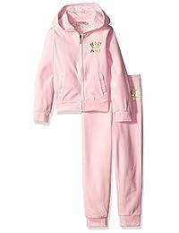 Juicy Couture Girls' 2 Pieces Velour Pants Set 浅粉色 6