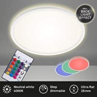 Briloner Leuchten - LED 面板,顶灯可调光,顶灯,RGB,颜色控制,背光,包含遥控器,22瓦,2700流明,4.000开尔文,白色,直径42厘米