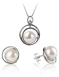 PearlsOnly Kelly 白色 9-10mm AA 扁圆 无暇淡水珍珠套装925纯银扣
