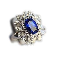 THERA 提亚珠宝 蓝宝石戒指,天然蓝宝石戒指,18k白金镶钻蓝宝石戒指,收藏级 RRS-016