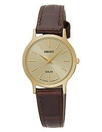 Seiko SUP302P1 女士太阳能手表,金色表壳和棕色皮革表带