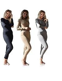性感基本款女士 3 件套 - 6 件套混合搭配打底上衣和裤子保暖内衣套装/* 纯棉
