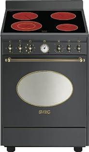 Smeg co68cma8 陶瓷炉灶,煤黑色烤箱和炉灶,烤箱和炉灶。 (炉灶,煤黑色,可旋转,陶瓷,锻造)