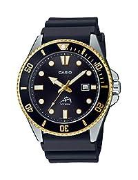 Casio 卡西歐 男式 潛水靈感 不銹鋼石英樹脂表帶 黑色 25.6 休閑手表 (型號:MDV-106G-1AVCF)