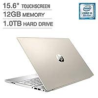 2018 *新款 HP Pavilion 商务旗舰笔记本电脑电脑 15.6 英寸高清触摸屏显示屏 * 8 代英特尔 i5-8250U 四核处理器 12GB DDR4 RAM 1TB HDD 背光键盘 蓝牙 B&O 音频 Windows 10 金色