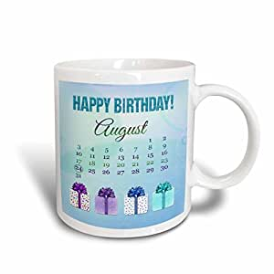 3dRose mug_181520_1 Birthday on August 24Th, Glitter Look Happy Birthday and Colorful Presents, Ceramic Mug, 11-Ounce