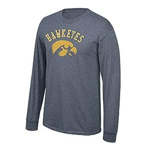 Elite Fan Shop NCAA 爱荷华鹰眼队长袖炭灰色复古 T 恤,S 码,深麻灰色