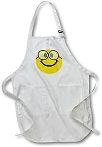 3dRose apr_113100_4 极客笑脸可爱极客快乐书呆子黄色带玻璃纱 - 全长围裙,55.88 x 76.2 厘米,黑色