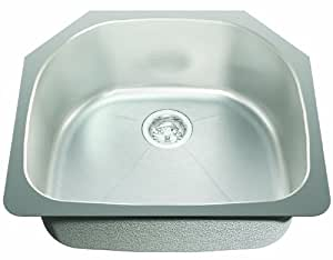 ECOSINKS ECOS-239US Acero Select Combo Undermount 0 孔折痕底单碗厨房水槽,不锈钢