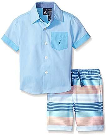 Nautica 男童长袖系扣衬衫和套头短裤套装 海洋色 M(5/6)