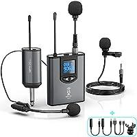 UHF 无线耳机麦克风适用于 iPhone/Android/相机/电脑可充电腰包发射器和接收器 0.64 英寸(约 0.6 厘米)输出适用于 PA 扬声器/扩音器。 30 英尺(约 91.4 米)支架麦克风/薰衣草翻领麦克风,适用于Vlog / 录音/教学