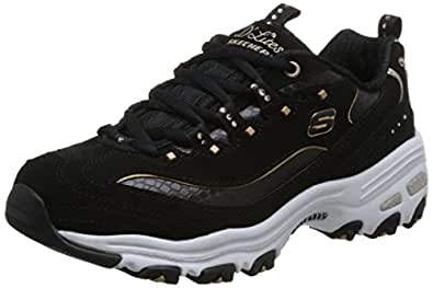 Skechers 斯凯奇 D'LITES系列 女 复古钻石白鞋运动鞋 11979-BKGD 黑色/金色 38 (US 8)