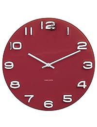 Present Time Karlsson 掛鐘 復古圓形玻璃 紅色 KA5640RD