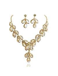 SP Sophia Collection 令人惊叹的叶子 落花 奥地利水晶 新娘 首饰 项链和耳环套装 铜色