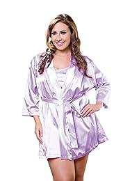 iCollection 女士加大码缎长袍 紫色(Lavender) 3X / 4X