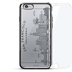 奢华镀铬系列 360 套装:设计师手机壳 + 钢化玻璃 适用于 iPhone 6/6s 银色LUX-I6CRM360-SF3 San Francisco Skyline 银色
