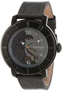 "Ed Hardy 男式""Astor""石英不锈钢皮革休闲手表,颜色:灰色(型号:AS-GR)"