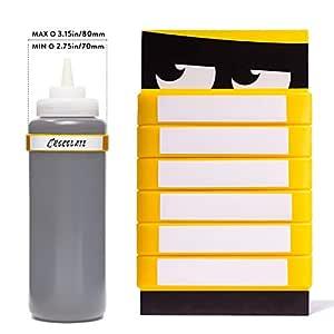 Dishwasher - 6 件装挤压瓶标签 - 可写定制颜色 黄色 11 x 17cm
