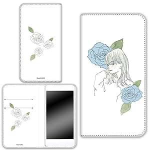 卡丽 壳 双面印刷手册 女孩和玫瑰 智能手机壳 手册式 对应全部机型 女の子とバラA 4_ AQUOS SERIE SHV34