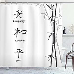 "Ambesonne 多色浴帘 Multi 21 69"" W By 70"" L sc_15775_Bamboo_06.29"
