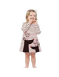 WOSENHK 女婴圣诞套装条纹圣诞老人长袖连衣裙
