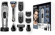 Braun 博朗 4210201216391 10合1 剃须刀MGK7020,适用于胡须,头部和身体,带AutoSense技术,不锈钢修剪头,黑色/银色