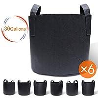 Gardzen 6 只装成长袋带手柄 1-30 加仑织物容器 6-Pack 30 Gallons GGB-30G-6
