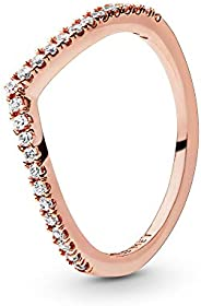 Pandora Jewelry - Sparkling Wishbone Ring for Women in Pandora Rose with Clear Cubic Zirconia