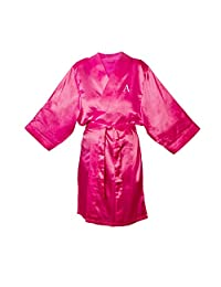 Cathy's Concepts Personalized Satin Robe, 1X-Large/2X-Large, Monogrammed Letter A, Fuchsia