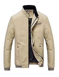 Goralon 夹克男秋季商务休闲男士外套男装立领夹克衫休闲男装上衣外衣修身夹克外套