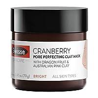 Swisse 天然护肤蔓越莓澳大利亚粉红色高岭土粘土面膜| 使用所有皮肤类型| 去角质,细化和收紧毛孔| 蔓越莓提取物,火龙果,柠檬提取物和柳皮| 2.47盎司/70克