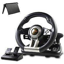 游戏赛车轮,PXN-V3II 180° 竞赛赛车方向盘,带通用USB端口和踏板,适用于PC,PS3,PS4,Xbox One,Nintendo Switch - 黑色