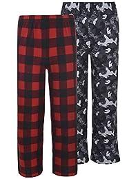 Hanes 男童 2 件装图案睡觉/睡衣裤,1 件羊毛和 1 件柔软拉绒针织